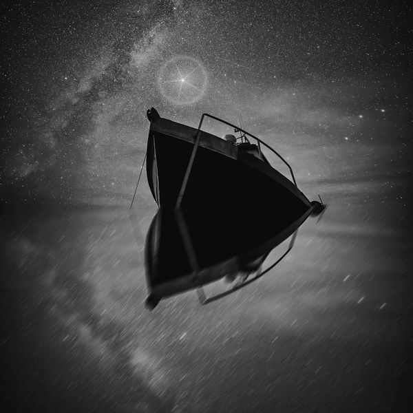 Guiding Star Night Star - Space Astronomy Astrophotography Galaxy Water Milky Way Naturelovers The Great Outdoors - 2017 EyeEm Awards Beauty In Nature Outdoors Nightphotography Stars Night Sky Monochrome Reflection Reflected  Boat