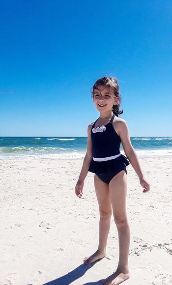 My daughter at Spring Break. Orange Beach, Alabama Gulf Shores Alabama EyeEm Selects Beach Land Sea Child Childhood Water Sky Sand Horizon Over Water Sunlight One Person Females Horizon Innocence Outdoors
