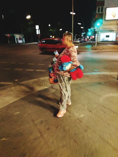 Schlümpfe in Wedding. Night Illuminated Childhood One Person Real People Outdoors Adult Traffic Lights Poor  Homeless Schlump