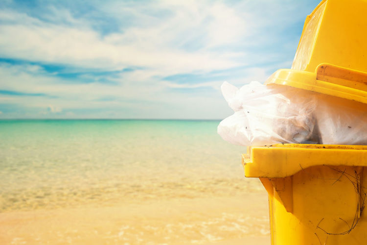 Sky Sea Water Beach Yellow Horizon Nature Container Outdoors Garbage Bin Pollution Plastic