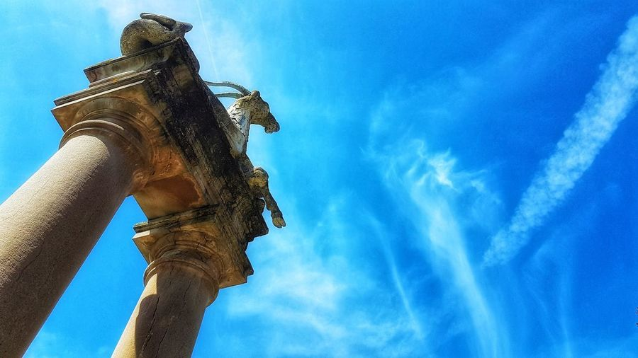 Florence Italy Boboli Boboligardens Sky Low Angle View Statue Italy Sculpture Firenze Pillar Pillars Cloud - Sky Blue Day No People Travel Sunlight Outdoors Travel Destinations