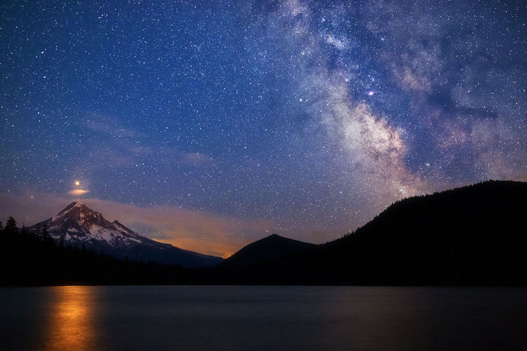 Starry night sky with Mars rising over Mt. Hood and reflecting in Lost Lake as the red planet made its closest approach to earth since 2003 on July 31st. Mars Mount Hood Mt Hood Oregon Travel Astronomy Astronomy, Beauty In Nature Galaxy Lake Landscape Lost Lake Milky Way Mountain Mountain Peak Nature Night Reflection Scenics - Nature Sky Snowcapped Mountain Space Star - Space Tranquil Scene Water The Week On EyeEm Editor's Picks