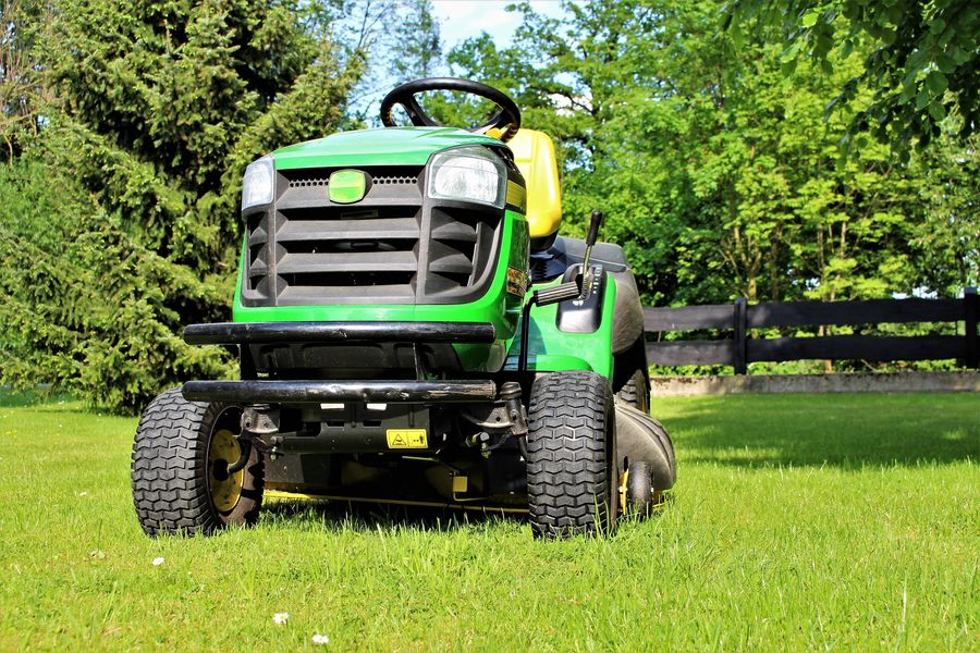 An image of lawn mowing Agriculture Cutting Equipment Farm Farming Garden Grass Green Landscape Lawnmower Mower Mowing Tractor Vehicle