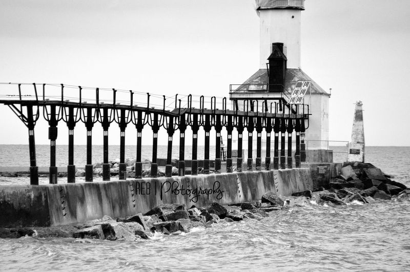 Get this one printed and shipped. Framed or no frame. Lighthouse Monochrome Lake Michigan Greatlakes Indiana Beach Photooftheday Photography