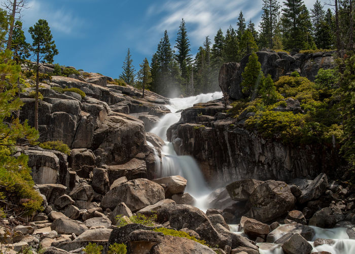 Bassi Falls at the Eldorado National Forest, California, USA, in the beginning of the summer of 2019, viewed close, long exposure Long Exposure Bassi Falls Waterfall Eldorado National Forest County Park Creek Sierra Nevada Sierras California USA Outdoors Outside Water Falling Fast Brook Movement Moving Summer 2019 Close Nature Natural Pattern No Person Nobody Hidden Gem Tourist Attraction Ice House Road Day Daylight Sunny Partly Cloudy Blue Sky Scenics - Nature Beauty In Nature Flowing Water Power In Nature Falling Water Blurred Motion No People