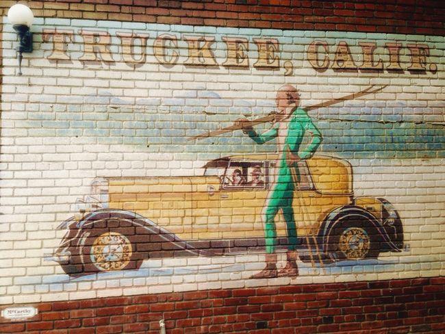 Wall Art Truckee  California WestCoast Vestiges Of The Past Vintage Cars Vintage Brick Wall Bricklane Brick Brick Building