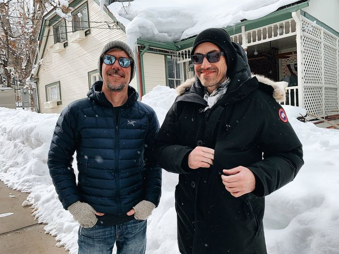 old chums. up to no good. Park City Utah Winter Snow Cold Temperature Two People Men Real People Clothing