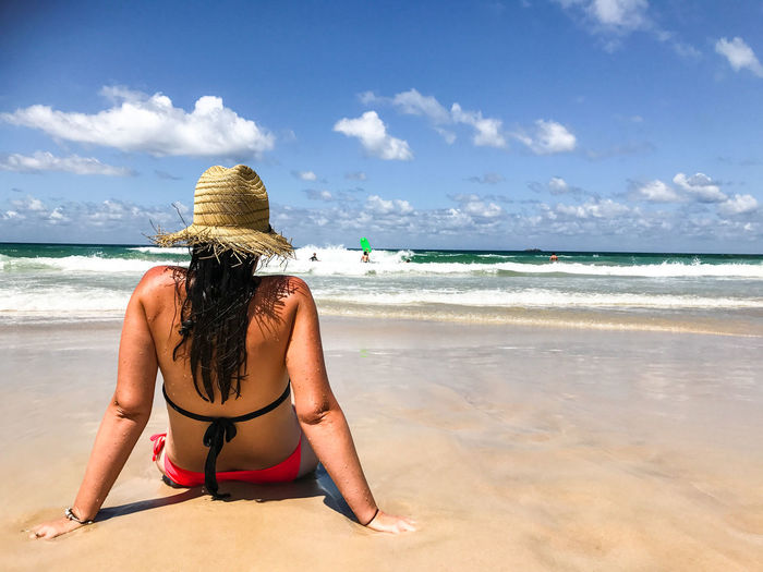 Adult Adults Only Back Beach Beautiful Woman Beauty Bikini Cloud - Sky Day Horizon Over Water Human Back Nature One Person One Woman Only Only Women Outdoors People Rear View Sand Sea Sky Travel Destinations Tropical Climate Vacations Water