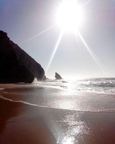 Beach Praia Playa BeachSilhouette Contrasol Rockssilhouette Sea Waves Adraga Praia Da Adraga