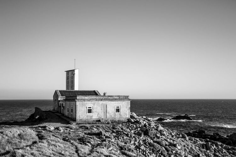 requiem for a summer... Black & White Blackandwhite Blue Building Exterior Built Structure Canon Clear Sky Copy Space EyeEm Best Shots EyeEmBestPics Galicia Galifornia Landscape_Collection Lighthouse Nature Nature_collection Old House Outdoors Photography Sea Seaside SPAIN Tower Traveling Vintage