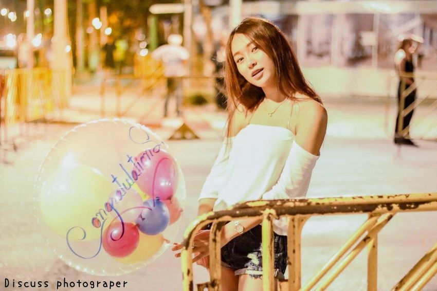 My Favorite Photo little girl with balloon. Beatiful Lovely Smiling City Balloons