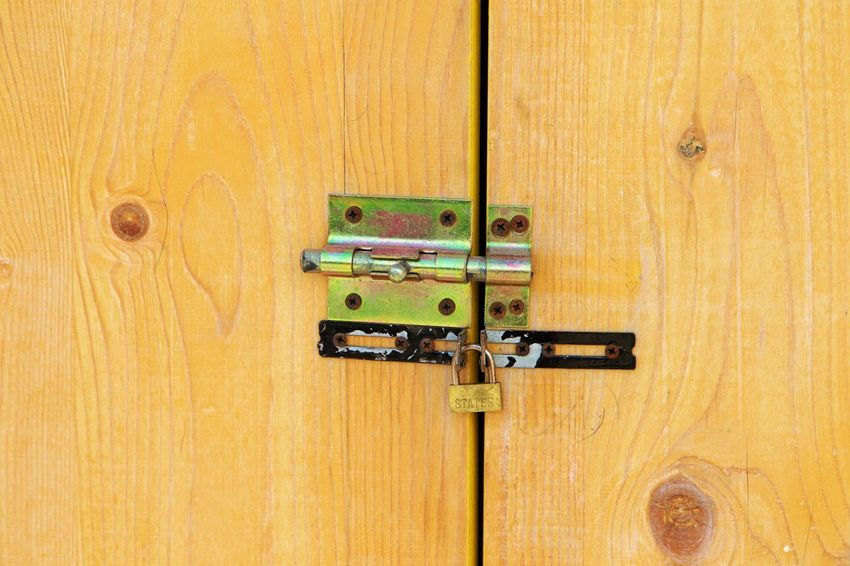 Backgrounds Close-up Closed Door Entrance Full Frame Indoors  Latch Lock No People Protection Safety Security Wood - Material