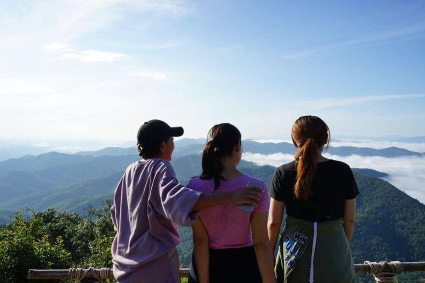 สุพรรณบุรี Mountain Real People Sky Mountain Range Scenics Friendship Casual Clothing Nature Leisure Activity Standing Togetherness Day Cloud - Sky Backpack Talking Landscape Outdoors Lifestyles Women Men