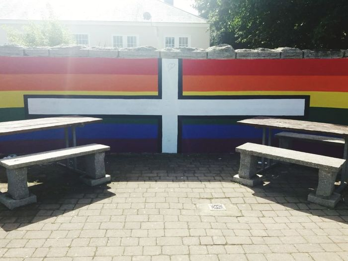may all be as one Park Gay Pride Flag Gay Pride Cornish Flag And Gay Pride Flag Mixed Rainbow Rainbow Colours Rainbow🌈 City Architecture Sky Bench Park Park Bench Park - Man Made Space Pew Seat EyeEmNewHere