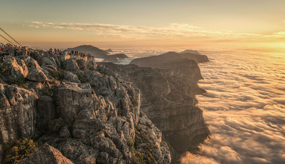View from Table mountain, Cape Town Nature Scenic Table Mountain Beauty In Nature Cliff Clouds Day Fog High Angle View Landscape Mountain Nature No People Outdoors People Rock - Object Scenics Sky Sunset Table Mountain View Tafelberg Viewing Point