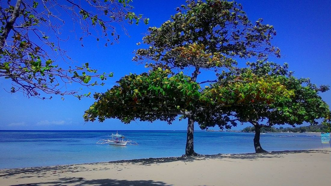 Calatagan, Batangas Beachphotography Cellphone Photography Tree Water Blue Sky Beauty In Nature Outdoors Sand Hellosummer  Boat Niceview WhiteSandBeach