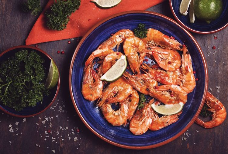 Food Seafood Food And Drink Freshness Directly Above Healthy Eating Table Prawn Lunch Gourmet Cooked Plate No People Indoors  Ready-to-eat Close-up Comfort Food Mediterranean Food Shrimps Flatlay Top View Healthy Healthy Food