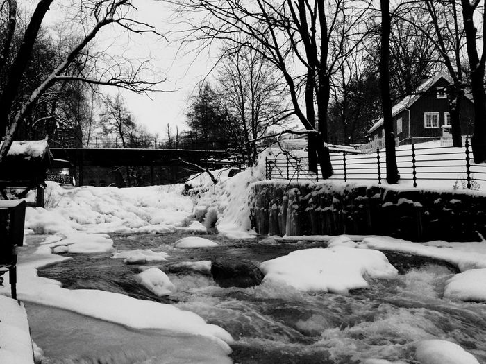 River Akerselva Peaceful Black & White Winter Ice