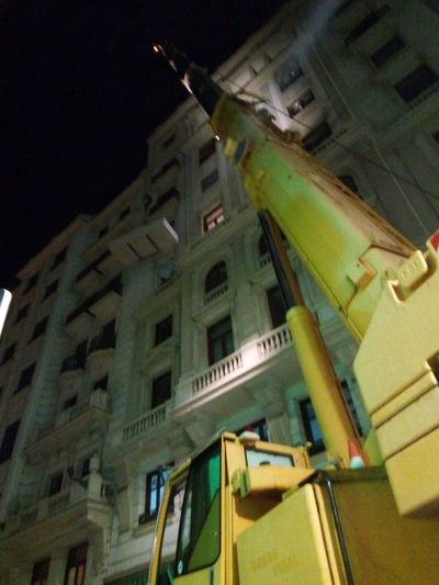 Low Angle View Architecture Building Exterior City Built Structure No People Night Outdoors Sky Skyscraper crane Jib Up mobile crane Madrid Spain City Life