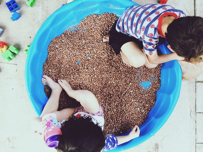 Directly Above Shot Of Siblings Playing In Wading Pool With Beans