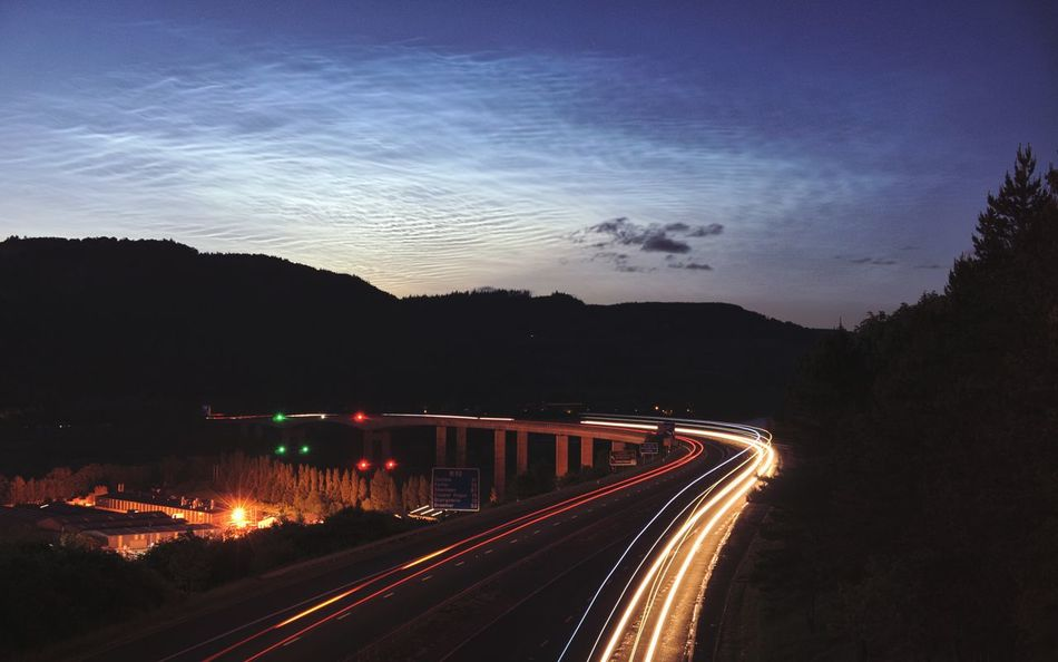 Noctilucent Clouds over Kinnoull Hill from the bridge over the M90 at Rhynd Perth Eye Em Scotland Long Exposure Night Nlc Noctilucent Cloud Perthshire Atmosphericoptics