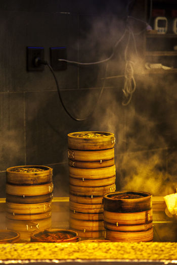 Stack of bamboo steamer in commercial kitchen