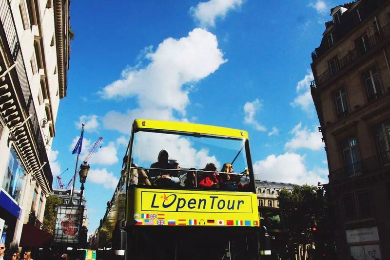 Sunshine Bus Paris, France  Traveling Streetphotography Sunny Day France Paris City Sky Sunshines Clouds And Sky Clouds Hello World Enjoying Life OpenEdit
