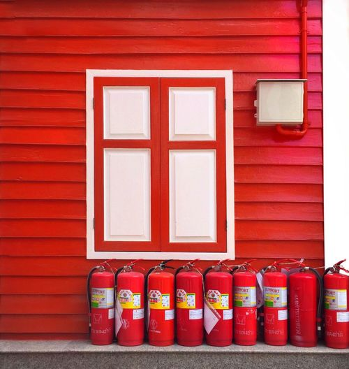 Window Fire Extinguisher Red Wall Travel Photography The Street Photographer - 2016 EyeEm Awards Iphonephotography Red And White Architecture The Architect - 2016 EyeEm Awards Bangkok Temple - Building Monk Housing Fine Art Photography Colour Of Life Color Palette Colors and patterns Beautifully Organized Exploring Style