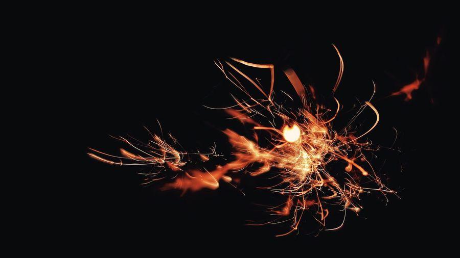 Close-up of firework display against black background