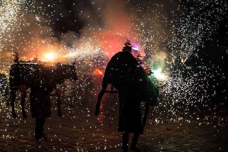 Catalunya Celebration Exploding Firework Firework - Man Made Object Firework Display Full Length Illuminated Men Night One Person Outdoors People Real People Rear View Sky Standing