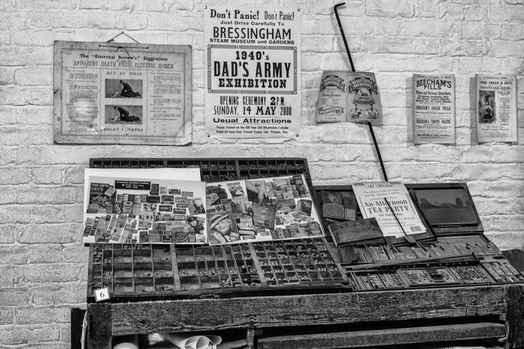 1940's printing press room, taken at the Steam Museum, Bressingham, Norfolk, UK. 1940's 1940's Imaginery Dad's Army Poster Printing Black And White Black And White Collection  Black And White Photography Newspaper Posters Posters Wall Printing Plant Type Setting Vintage Vintage Press Room Wood - Material Wooden Desk