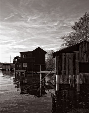 Bootshaus. Austria Attersee Black And White