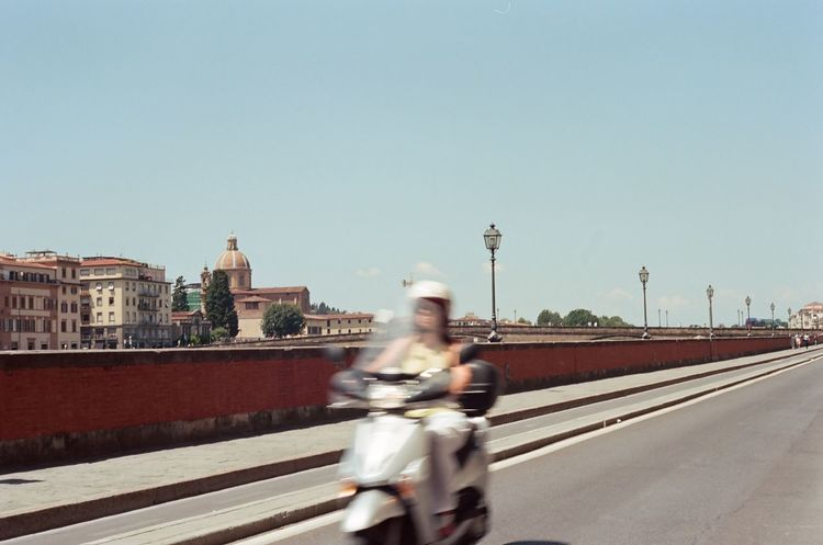 'Zoom' -- B 35mm Film Arno  Canon AE-1 Firenze Kodak River Arno Riverside Blurred Motion Day Film Photography Filmisnotdead Florence Kodak Portra Motion Motorcycle One Person Outdoors Ride Riding Road Speed Street Transportation