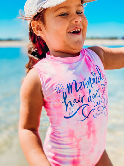 Close-up of girl on beach