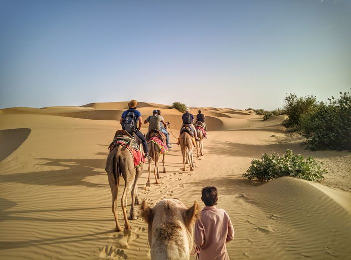 EyeEm Selects Sand Dune Desert Water Clear Sky Sand Men Riding Sea Rear View Sky Camel Turban Rajasthan Arid Landscape Indian Subcontinent Saddle Arid Climate North Africa Off-road Vehicle #urbanana: The Urban Playground Be Brave