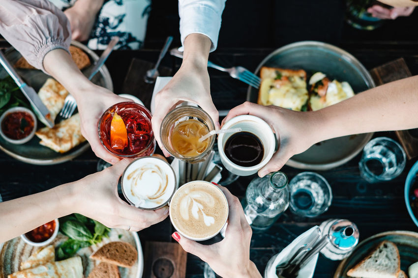 Group of friends toasting with different drinks Human Hand Top View Brunch Toast Group Of People Food Hand Real People Food And Drink Top View Of Food Ready-to-eat Refreshment High Angle View Scrambled Eggs Freshness Human Body Part Glass Friendship Togetherness Coffee - Drink Aperol Spritz Independence Day Thanksgiving Day Valentine's Day  Breackfast