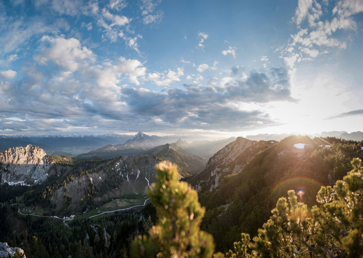 Sunset in the Styrian mountains Mountain Scenics - Nature Sky Beauty In Nature Cloud - Sky Mountain Range Nature Environment Sunlight Tranquil Scene Landscape Tranquility Plant No People Idyllic Outdoors Tree Day Travel Sunbeam Lens Flare Range Mountain Peak Sunset