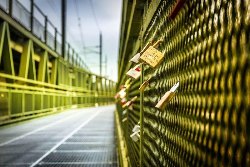 Close-up of love locks on railing at footbridge