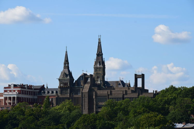 The cathedral. Architecture Building Exterior Built Structure Church Cloud - Sky Day Famous Place Growth High Section History Local Landmark Low Angle View No People Outdoors Place Of Worship Sky Spire  Steeple Tourism Tree Urban Skyline