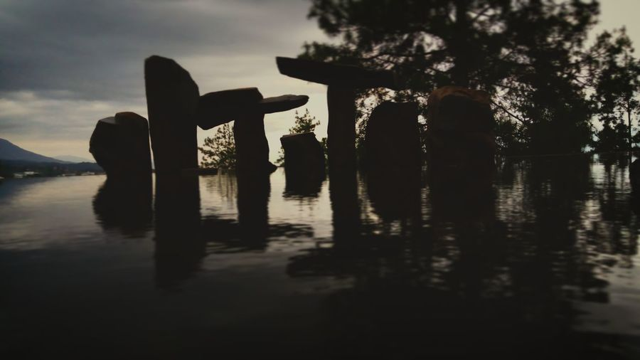 every stone have some story EyeEm EyeEm Nature Lover Wot Batu Nature Water Tree Silhouette Lake Social Issues Reflection Sky
