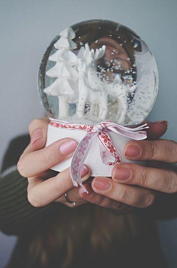 Human Hand Holding Women Jackysart Snowglobe Winter Close-up Lovely