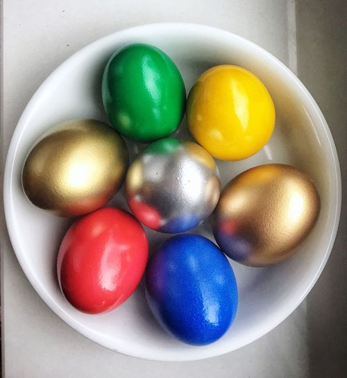 Colourful Eggs Eastereggs Ostereier Ostern Multi Colored Egg Easter Easter Egg Still Life Celebration Indoors  Directly Above High Angle View Decoration