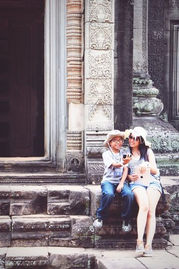 Happy Mother And Son Taking Selfie At Angkor Wat