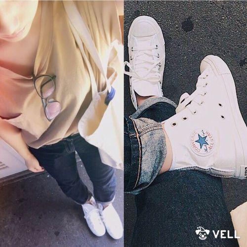 ファッション おしゃれ コーディネート お洒落 コーデ Coordinate スニーカー デニムパンツ デニム Fashion シンプル Studioclip Converse Allstar Sneaker カジュアル