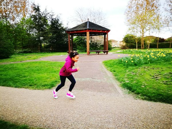 Spring Run Spring Jogging Child Playing Full Length Sky Happy Child  Real People Check This Out