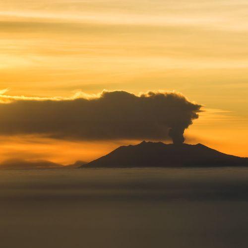 From An Airplane Window Garudaindonesia Garuda Indonesia GA3344 from Bandung to Denpasar Bali eruption Mountain Raung Stuckinbali Amazing :)