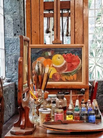 Indoors  Table Paintbrush Window Day No People Oil Painting Art Studio Palette Multi Colored Close-up