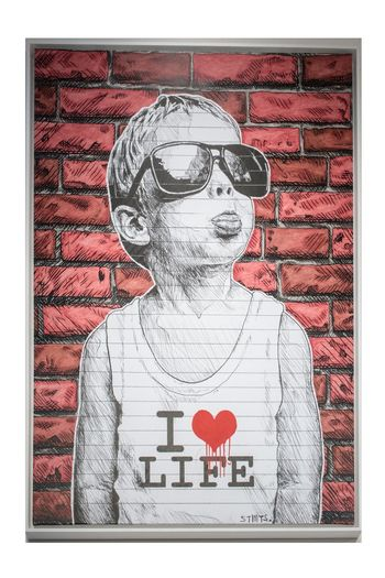 Graffiti Art I Love Life People Portrait Adult Men Human Body Part Emotion Love Childhood Sketch Child Creativity Heart Shape