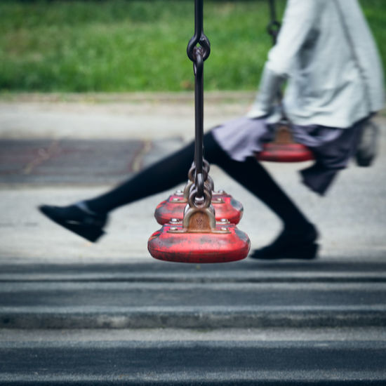 Low section of swing in park