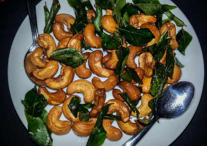 Ayurvedic Ayurvedic Food Basilicum Basilikum Cashew Cashew Nuts Food Freshness Healthy Eating Healty India Indian Leaf No People Nuts Nüsse